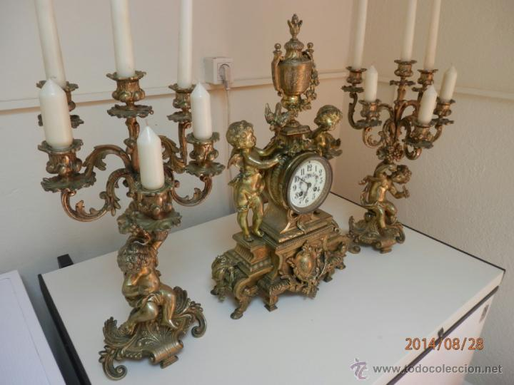 Relojes de carga manual: RELOJ BRONCE CON CANDELABROS - Foto 2 - 44979646