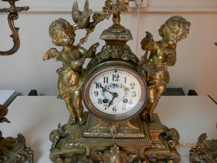 Relojes de carga manual: RELOJ BRONCE CON CANDELABROS - Foto 3 - 44979646