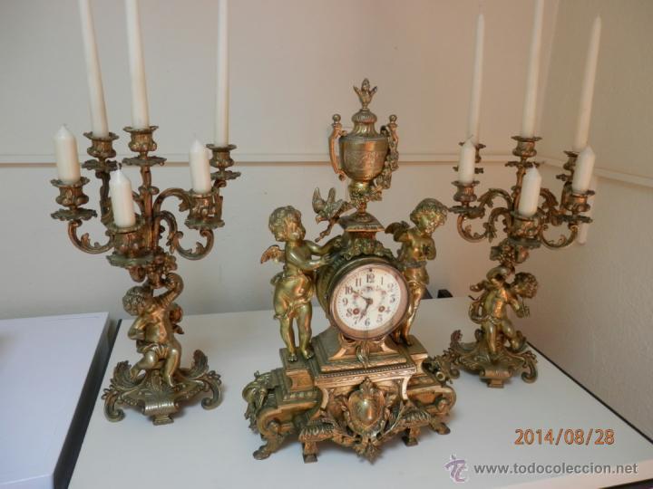 Relojes de carga manual: RELOJ BRONCE CON CANDELABROS - Foto 5 - 44979646