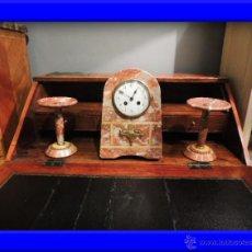 Relojes de carga manual: RELOJ ART DECO DE MARMOL CON COPAS A JUEGO. Lote 35942266