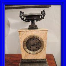 Relojes de carga manual: RELOJ SOBREMESA CARLOS X EN MARMOL SIENA Y BRONCE. Lote 42779045