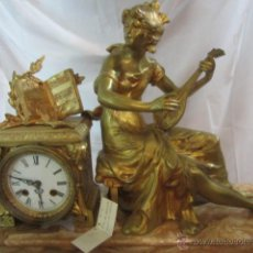 Relojes de carga manual: ENORME RELOJ DE CHIMENEA, EN BRONCE Y MÁRMOL. 8 DÍAS CUERDA, SONERÍA HORAS Y MEDIAS. FUNCIONANDO.. Lote 46452814