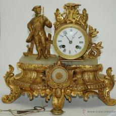 Relojes de carga manual: RELOJ SOBREMESA. CALAMINA Y MÁRMOL MÁQUINA PARÍS. EN MARCHA. SXIX. FRANCIA.. Lote 46683070