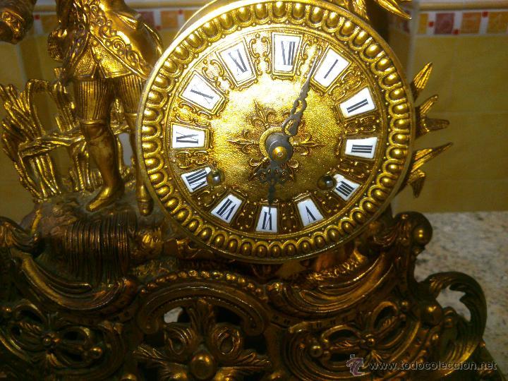 Relojes de carga manual: IMPONENTE RELOJ SOBREMESA ALEMAN CON GUARNICION EN BAÑO BRONCE AL MERCURIO - Foto 2 - 46936051