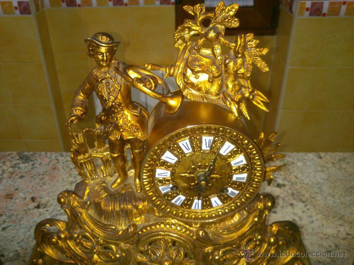 Relojes de carga manual: IMPONENTE RELOJ SOBREMESA ALEMAN CON GUARNICION EN BAÑO BRONCE AL MERCURIO - Foto 3 - 46936051