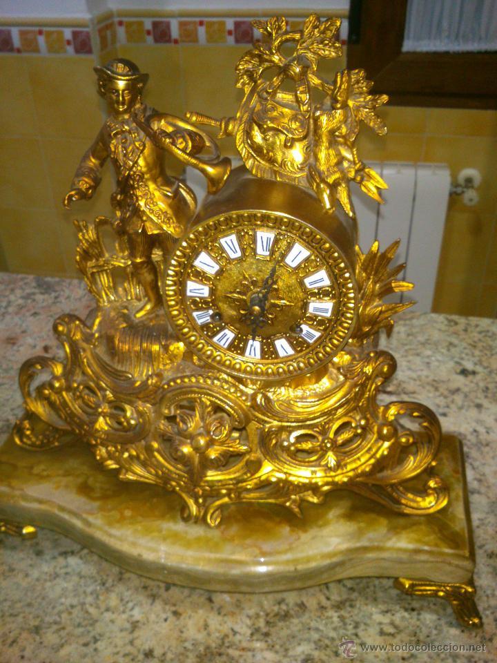 Relojes de carga manual: IMPONENTE RELOJ SOBREMESA ALEMAN CON GUARNICION EN BAÑO BRONCE AL MERCURIO - Foto 5 - 46936051