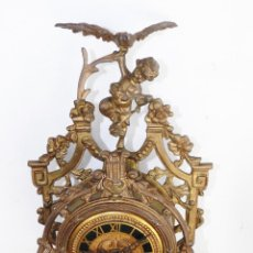 Relojes de carga manual: FABULOSO GRAN RELOJ IMPERIO EN BRONCE Y MARMOL FRANCES XIX. Lote 145054085