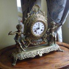 Relojes de carga manual: RELOJ ÁNGELES BRONCE DOBLE MAQUINARIA ESTILO ROMÁNTICO FRANCÉS MAS REGALO HORLOGE BRONZE ANGES. Lote 48334766