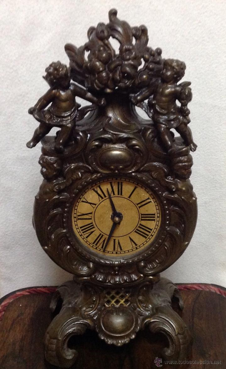 Relojes de carga manual: ANTIGÜO RELOJ DE SOBREMESA EN BRONCE - Foto 5 - 48377430