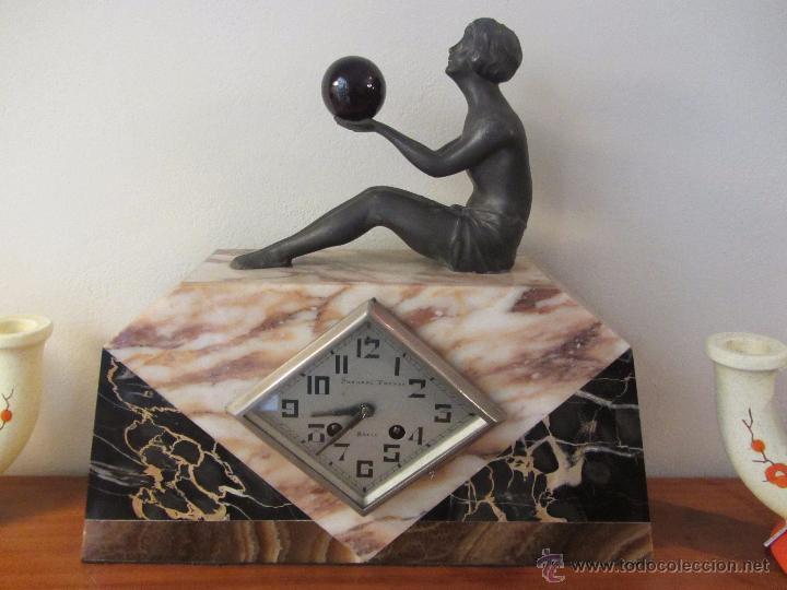 RELOJ FRANCÉS ART DECÓ DE SOBREMESA (Relojes - Sobremesa Carga Manual)
