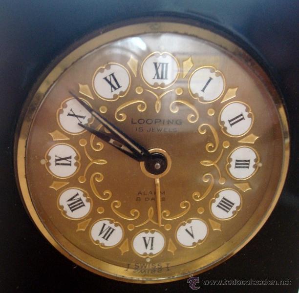 Relojes de carga manual: RELOJ DESPERTADOR DE SOBREMESA SUIZO MARCA ¨LOOPING¨ - Foto 4 - 49844779