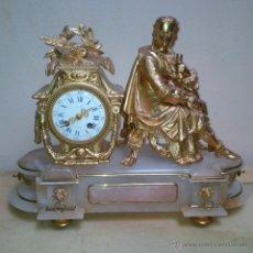 Relojes de carga manual: BONITO RELOJ DE ALABASTRO Y CALAMINA (RESTURAR).. Lote 50440727