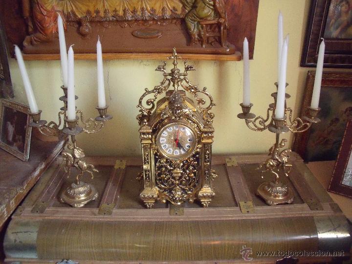 Centro de mesa reloj candelabros bronce dec comprar - Relojes antiguos de mesa ...