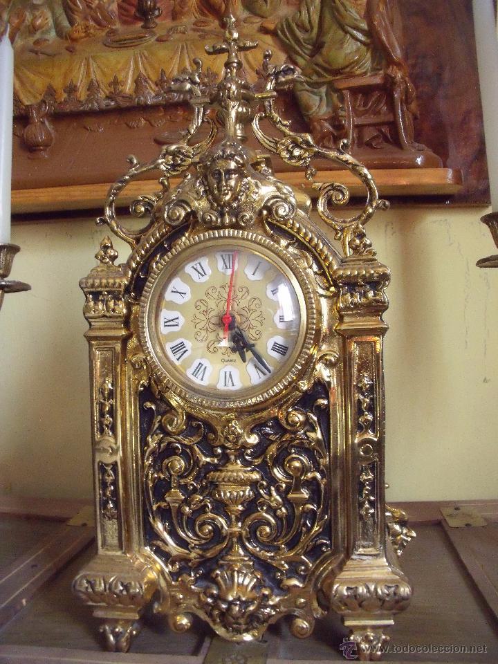 Relojes de carga manual: CENTRO DE MESA.-RELOJ.-CANDELABROS.-BRONCE.-DECORACION.-EXTRAORDINARIO CONJUNTO EN BRONCE.- - Foto 2 - 52613188