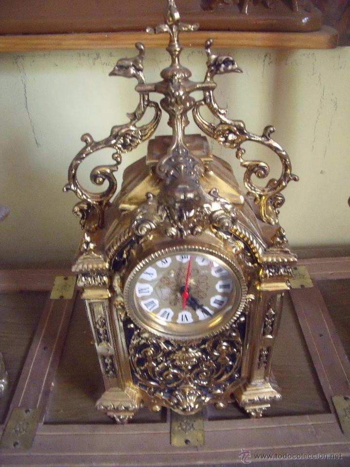 Relojes de carga manual: CENTRO DE MESA.-RELOJ.-CANDELABROS.-BRONCE.-DECORACION.-EXTRAORDINARIO CONJUNTO EN BRONCE.- - Foto 4 - 52613188