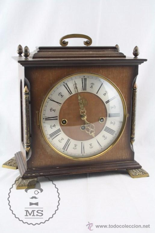 ANTIGUO RELOJ DE SOBREMESA FRANZ HERMLE & SOHN / FHS CON CAJA DE MADERA - FUNCIONANDO / RESTAURACIÓN (Relojes - Sobremesa Carga Manual)
