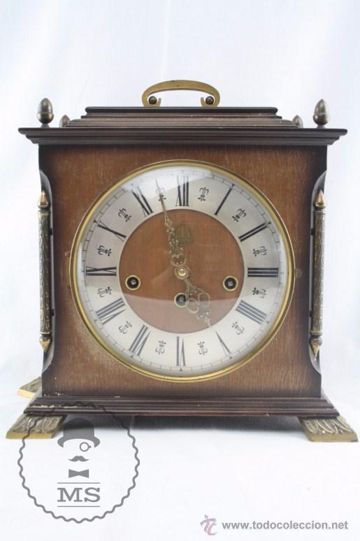 Relojes de carga manual: Antiguo Reloj de Sobremesa Franz Hermle & Sohn / FHS con Caja de Madera - Funcionando / Restauración - Foto 2 - 52726194