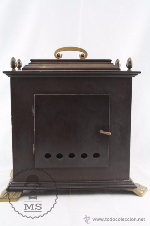 Relojes de carga manual: Antiguo Reloj de Sobremesa Franz Hermle & Sohn / FHS con Caja de Madera - Funcionando / Restauración - Foto 8 - 52726194