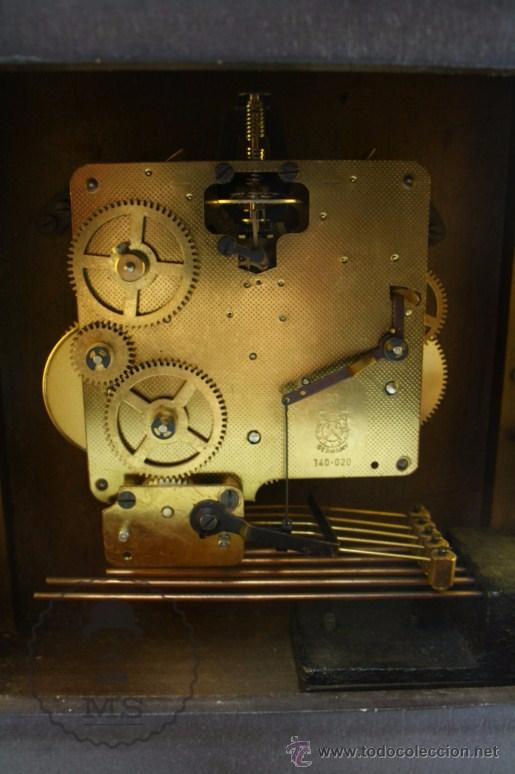 Relojes de carga manual: Antiguo Reloj de Sobremesa Franz Hermle & Sohn / FHS con Caja de Madera - Funcionando / Restauración - Foto 13 - 52726194