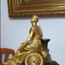 Relojes de carga manual: ESPECTACULAR RELOJ EN BRONCE DORADO Y PATINADO SIGLO XIX ÉPOCA NAPOLEON III. Lote 53260626