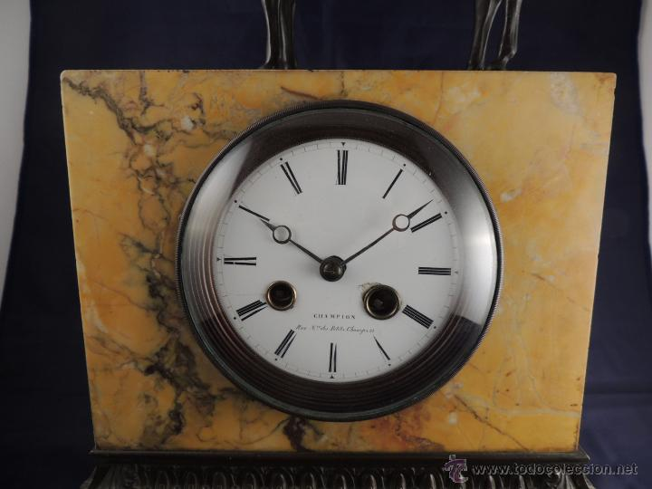 Relojes de carga manual: PRECIOSO RELOJ DE MARMOL SIENA CON BRONCE DE CABALLO EPOCA IMPERIO - Foto 3 - 54066246