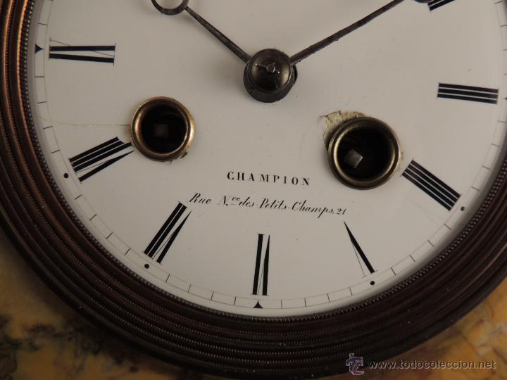 Relojes de carga manual: PRECIOSO RELOJ DE MARMOL SIENA CON BRONCE DE CABALLO EPOCA IMPERIO - Foto 5 - 54066246