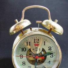 Relojes de carga manual: ANTIGUO DESPERTADOR DE CAMPANAS CON ALARMA . Lote 54341988