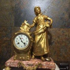 Relojes de carga manual: RELOJ DE SOBREMESA , MARMOL Y CALAMINA. Lote 55100851