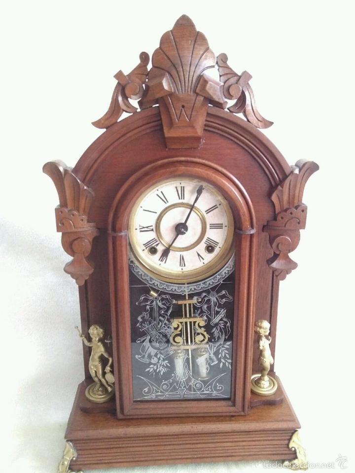 ANTIGUO IMPRESIONANTE RELOJ CAPILLA ANSONIA PENDULO AD.Y ATR. COMPENSADO POR TEMPERATURA MERCURIO (Relojes - Sobremesa Carga Manual)