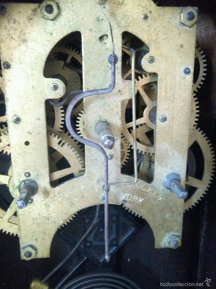 Relojes de carga manual: ANTIGUO IMPRESIONANTE RELOJ CAPILLA ANSONIA PENDULO AD.Y ATR. COMPENSADO POR TEMPERATURA MERCURIO - Foto 3 - 57804087