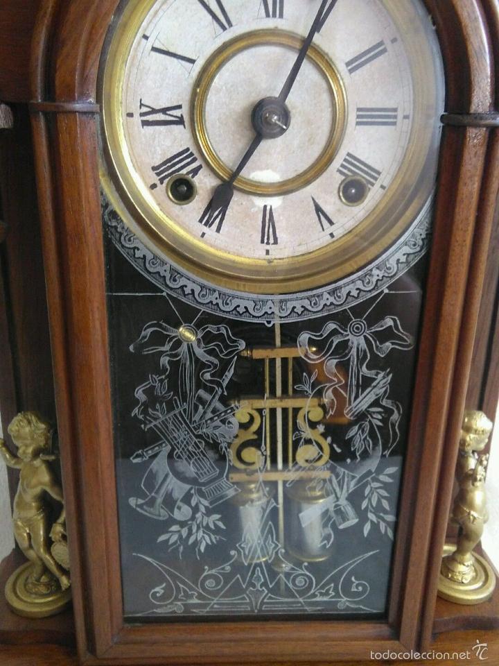 Relojes de carga manual: ANTIGUO IMPRESIONANTE RELOJ CAPILLA ANSONIA PENDULO AD.Y ATR. COMPENSADO POR TEMPERATURA MERCURIO - Foto 7 - 57804087