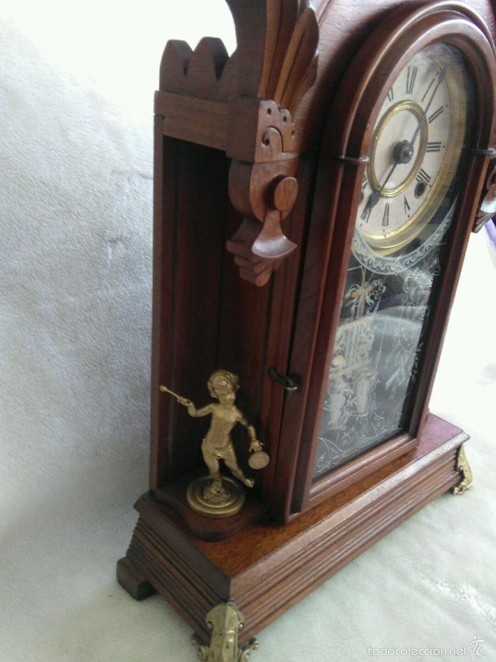 Relojes de carga manual: ANTIGUO IMPRESIONANTE RELOJ CAPILLA ANSONIA PENDULO AD.Y ATR. COMPENSADO POR TEMPERATURA MERCURIO - Foto 10 - 57804087