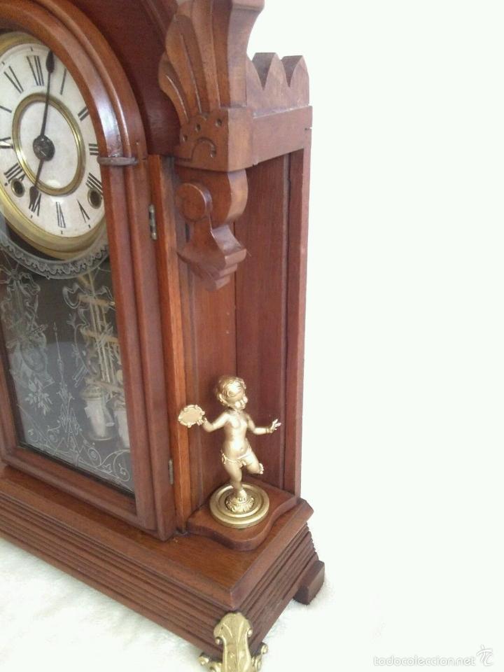 Relojes de carga manual: ANTIGUO IMPRESIONANTE RELOJ CAPILLA ANSONIA PENDULO AD.Y ATR. COMPENSADO POR TEMPERATURA MERCURIO - Foto 11 - 57804087
