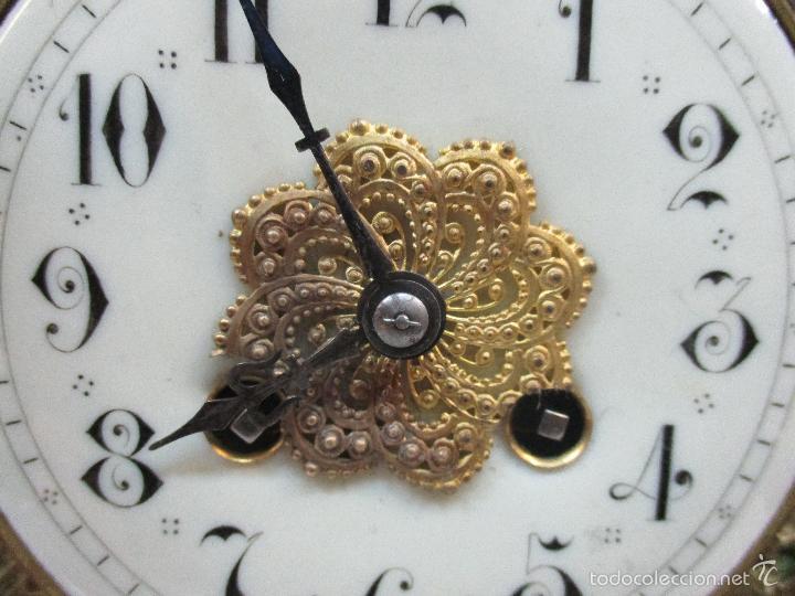 Relojes de carga manual: Antiguo Reloj - con Guarnición - Candelabros a Juego - Bronce - Completo - Finales S. XIX - Foto 8 - 58061208
