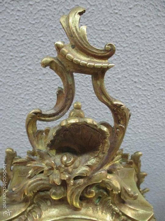 Relojes de carga manual: Antiguo Reloj - con Guarnición - Candelabros a Juego - Bronce - Completo - Finales S. XIX - Foto 9 - 58061208