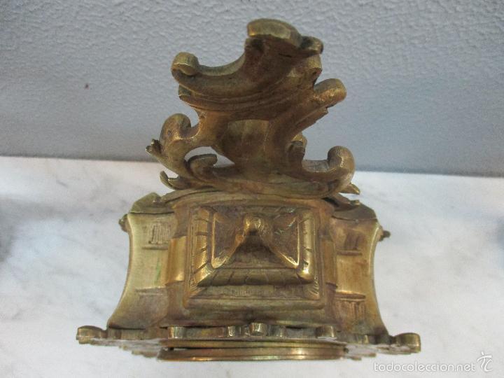 Relojes de carga manual: Antiguo Reloj - con Guarnición - Candelabros a Juego - Bronce - Completo - Finales S. XIX - Foto 12 - 58061208