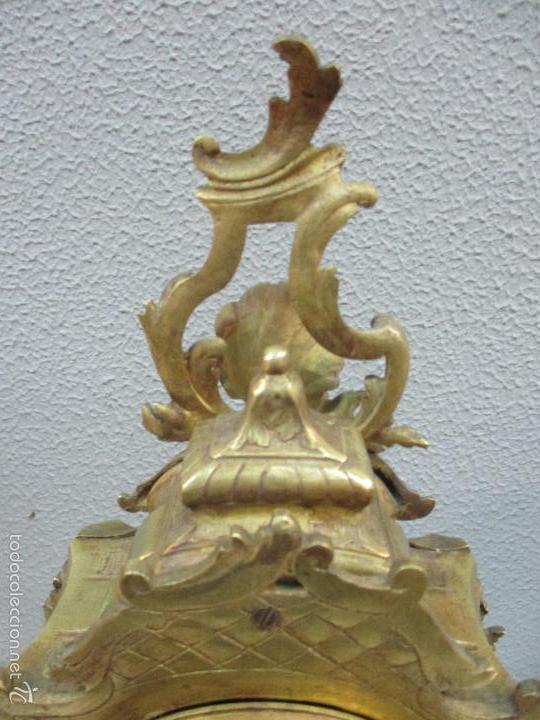 Relojes de carga manual: Antiguo Reloj - con Guarnición - Candelabros a Juego - Bronce - Completo - Finales S. XIX - Foto 13 - 58061208