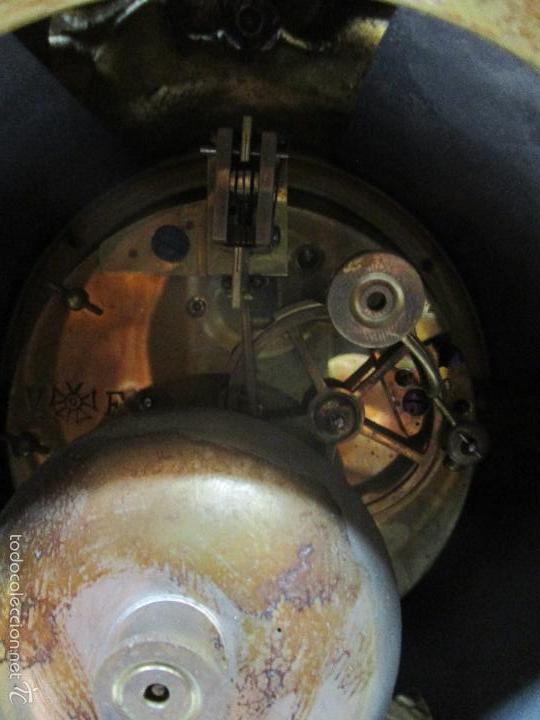 Relojes de carga manual: Antiguo Reloj - con Guarnición - Candelabros a Juego - Bronce - Completo - Finales S. XIX - Foto 18 - 58061208
