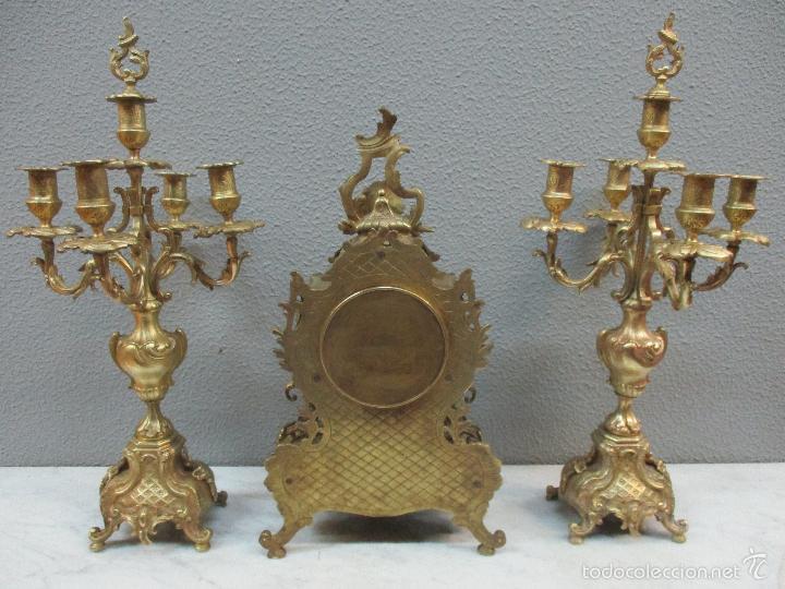 Relojes de carga manual: Antiguo Reloj - con Guarnición - Candelabros a Juego - Bronce - Completo - Finales S. XIX - Foto 23 - 58061208