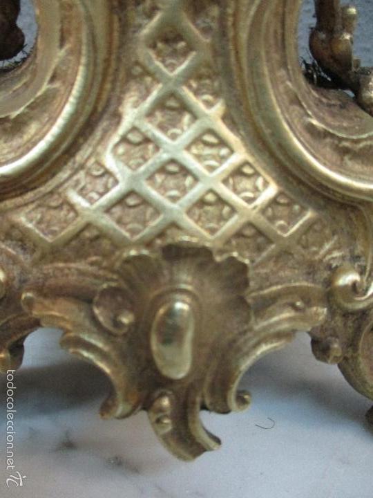 Relojes de carga manual: Antiguo Reloj - con Guarnición - Candelabros a Juego - Bronce - Completo - Finales S. XIX - Foto 42 - 58061208