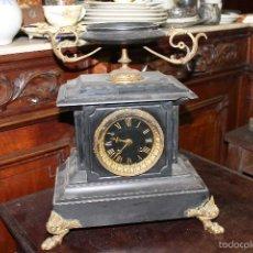Relojes de carga manual: ANTIGUO RELOJ SOBREMESA CON SONERIA MARMOL Y BRONCE - PARIS - (B 25). Lote 58147138
