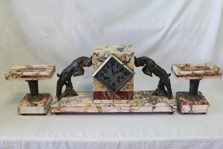 Relojes de carga manual: reloj de sobremesa art deco con guarnición - Foto 3 - 62315100