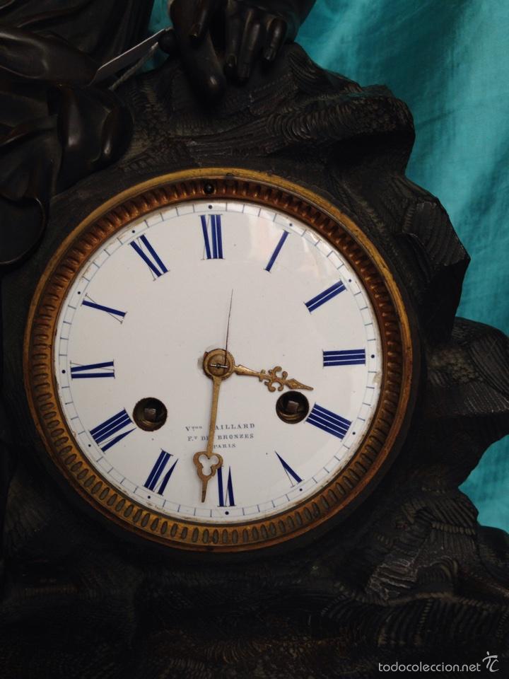 Relojes de carga manual: Reloj de bronce sigo XIX, sobremesa de la época imperio - Foto 6 - 60576814