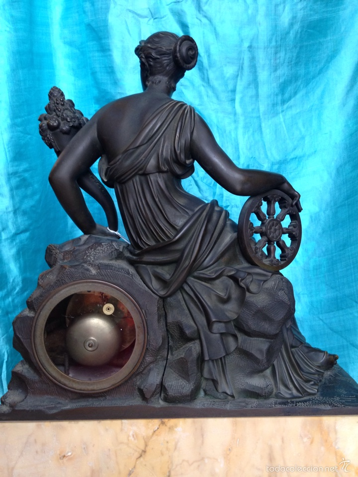 Relojes de carga manual: Reloj de bronce sigo XIX, sobremesa de la época imperio - Foto 8 - 60576814