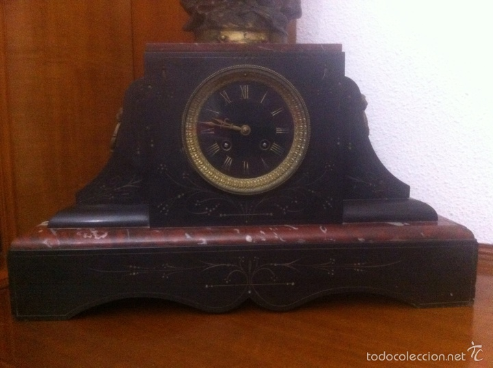 Relojes de carga manual: Antiguo reloj con escultura de calamina de Geo Maxim - Foto 5 - 61933580