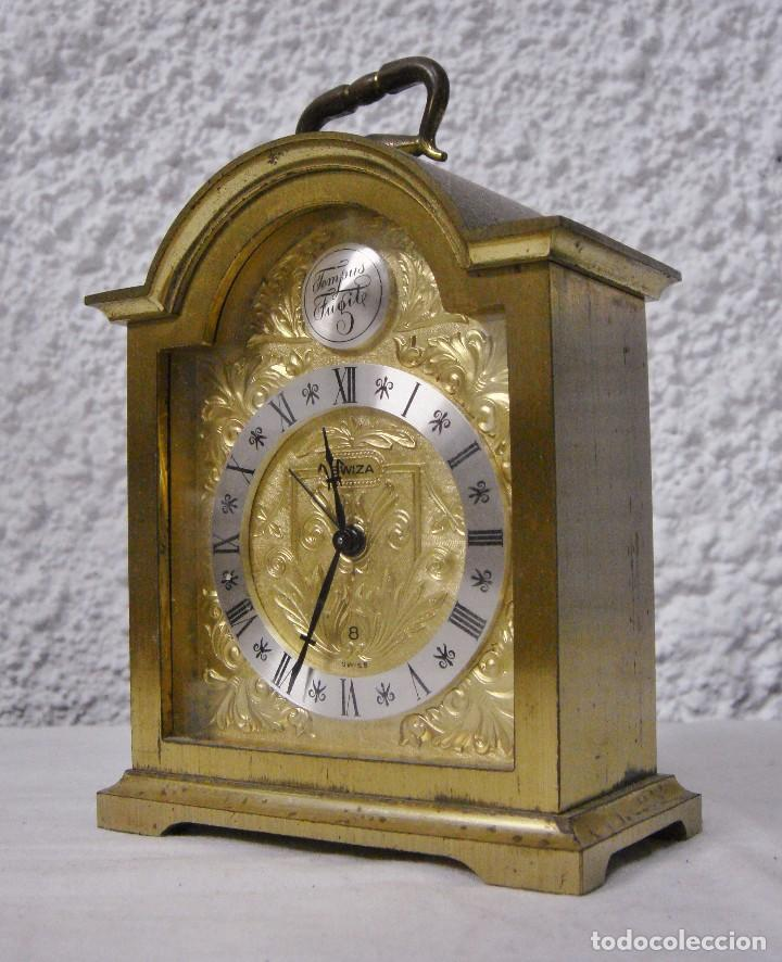 Relojes de carga manual: Reloj Despertador de Sobremesa. Dorado. Tempus Fugit. - Foto 4 - 64314047