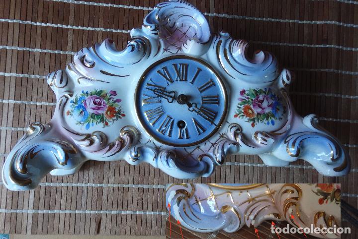 Relojes de carga manual: RELOJ DE PORCELANA DE SOBREMESA AÑOS 40 CON DESCORCHONES - Foto 7 - 73621363