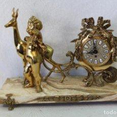 Relojes de carga manual: RELOJ CON ANGEL A CUERDA EN BRONCE CON PEANA DE MARMOL. Lote 74332411