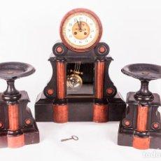 Relojes de carga manual: ANTIGUO RELOJ DE SOBREMESA - NOTARIO - GUARNICIÓN - MAQUINA PARÍS - MARCA H&B - COMPLETO - FUNCIONA. Lote 153416070