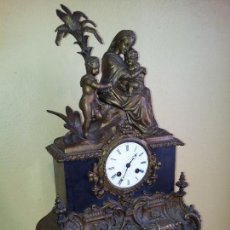 Relojes de carga manual: RELOJ FRANCES SOBREMESA EN BRONCE PATINADO Y MARMOL ..SIGLO XIX..CIUDAD DE NEVERS FRANCIA. Lote 82083716